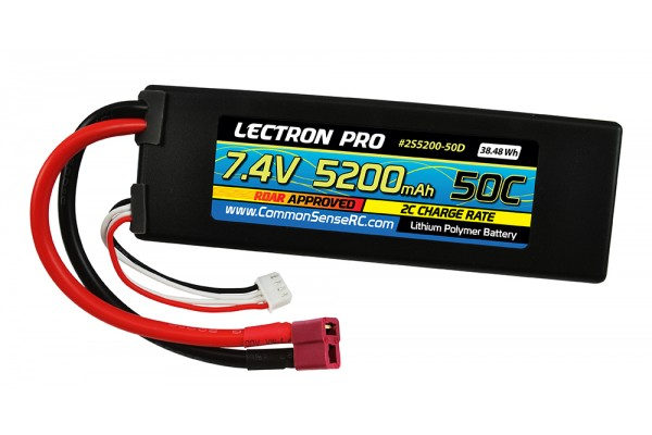 COMMON SENSE LECTRON PRO 50C LIPO BATTERY WITH DEANS-TYPE CONNECTOR (2S5200-50D)